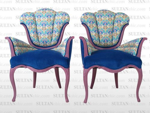 All upholstered furniture pieces featured here are one of a kind creations of artisan designer Albert Leon Sultan founder of WWW.SULTANCHIC.COM Please inquire if you'd like to purchase any piece featured here or to hire Albert to design your home.  #midcentury #retro #vintage #upholstery #wingchair #upcycle #couture #furniture #art #design #interiordesign #home #love  #sultanchic #chic #fashion #hotpink #sofa #couch #flower #spring #turquoise