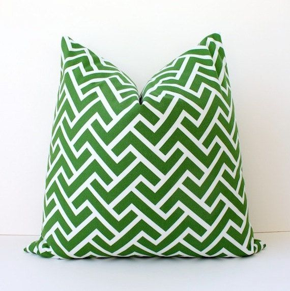 "Kelly Green Organic Geometric Designer Pillow Cover 20"" White Modern accent cushion hollywood regency imperial trellis zig zag chevron grass"