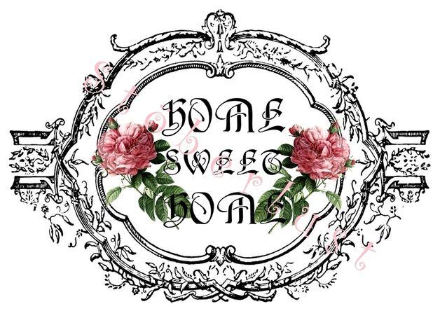 Möbeltattoo Papieretikett A 4 Home sweet Home