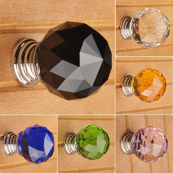 30mm Round K9 Crystal Glass Door Drawer Cabinet Wardrobe Pull Handle Knobs LA5002, Aluminium Alloy and K9 Crystall