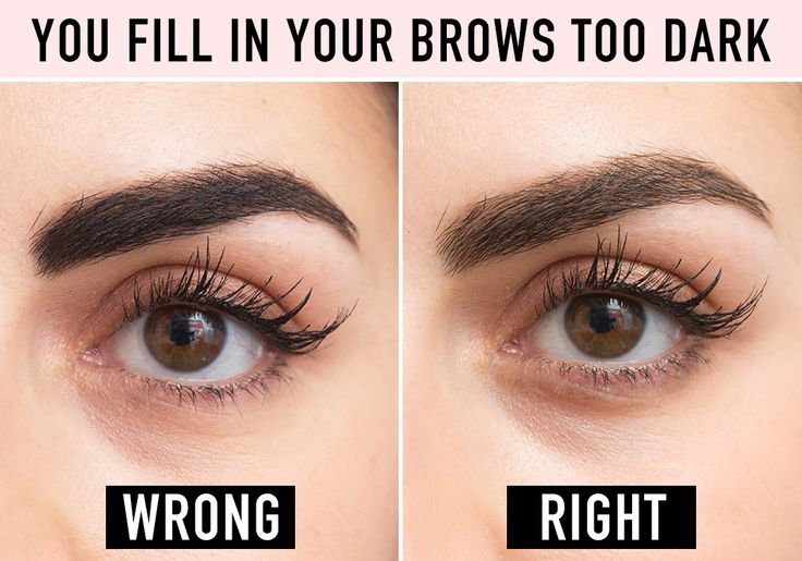 The key to making your brows look darker but natural is not getting the formula you're using on your skin.