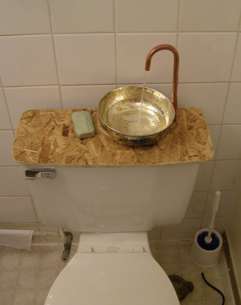 Finally Toilet and Sink in One!! I would like to set up something like this in the upstairs bathroom. It costs $139 manufactured. I think I have these supplies lying around the house? Saw it in Japan as well, was manufactured there, but I definitely want one for my house!!!