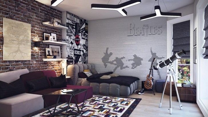 Bedroom, Purple Cream Sofa Pillows Black Cushions Carpet Elegant Teenage Boys Room Beatles Theme Bed Blanket Telescope Gray Curtain Wooden Floor Concrete Lamps Bookshelves Photos Tree Painting And Coffee Table ~ Beautiful Teenage Room As Well As Possible