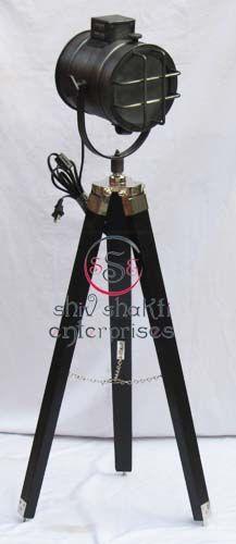 Antique Nautical Spot Searchlight  Item Code : N24-6631   Finishing : Black Antique   Material : Aluminium & Timber Wood   Dimension : Full open height -104cm
