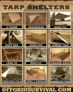 Tarp Shelters - Examples showing how to make multiple types of tarp shelters.