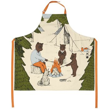 【MOZI】世界で人気!メルボルン発の動物モチーフがかわいい雑貨♪ mens apron - camping (エプロン キャンプ)