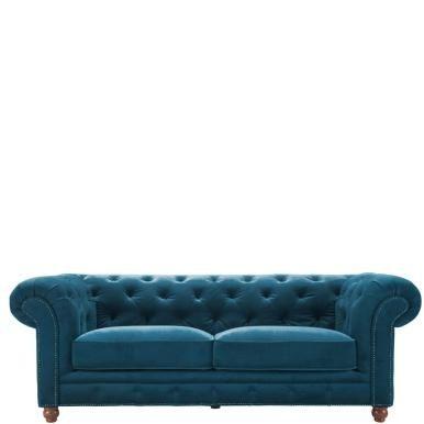 OLD EGNGLAND - Диван 2,5-местный  Роскошный бархатный диван. Сделано: ножки из бука, каркас и массива дерева, обивка: 100% акрил, чехлы съемные, подходят для ручной стирки. Поставляется в частично собранном виде, потребуется прикрутить ноги. Размеры: 220 х 96 х 76 см, высота сиденья 45 см, ширина сиденья 146 см, глубина сиденья 60 см 13600-00