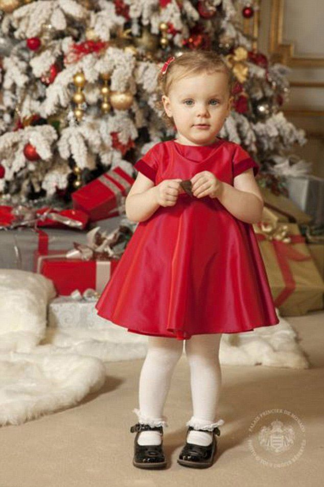Monaco's royal Prince Albert II and Princess Charlene with twins Princess Gabriella and Prince Jacques in the family's official Christmas card photo shoot was held in the ornate Salon des Glaces on December 3, 2016.