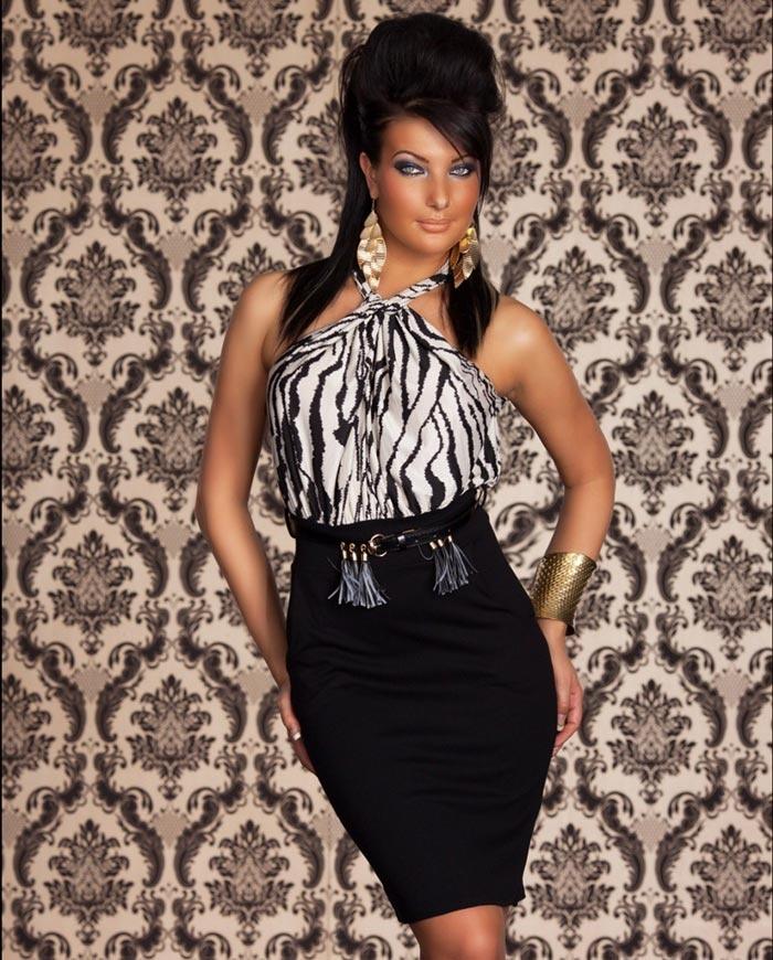 Robe sexy 2 en 1 en crayon noir et le haut imprime zebre femme ceinture offerte par - Haut sexy femme ...