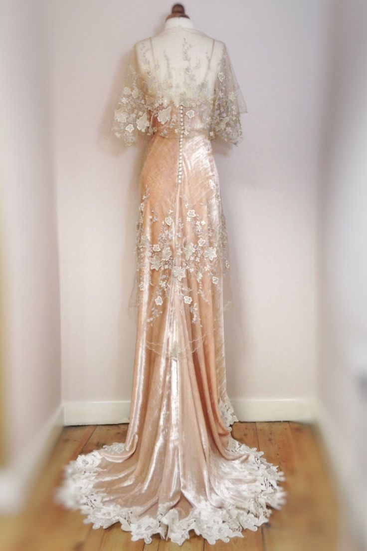 Champagne silk velvet and platinum & gold embroidered tulle Belle Epoque inspired wedding dress by Joanne Fleming Design