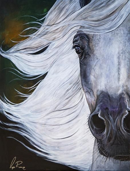 "Original 30"" x 40"" Acrylic of Grey Arabian Mare by artist Lysa Roman"