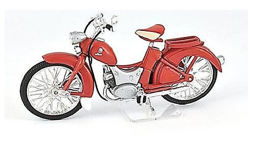 Ex Mag 1:24 Simson SR Plastic Model Motorcycle FM15 This Simson SR 2E Plastic Model Motorcycle is Red and features working stand, wheels. It is made by Ex Mag and is 1:24 scale (approx. 8cm / 3.1in long).    Comes with metal name plate.  #ExMag #ModelMotorbike #Simson