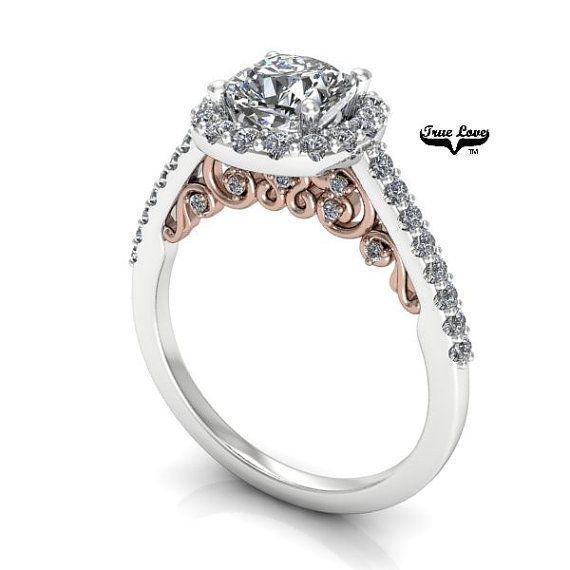 A stunning creation 14 kt White and Rose Gold solitaire Round 1.05 Carat 6 mm Brilliant Forever One Moissanite and forty three round brilliant diamonds.  #ring #diamonds #rings #moissanite   #engagementring #jewelrydesign #jewelryaddict #weddingrings  #ringbling #weddingblog #weddingforward #heputaringonit #futurewife  #gettingmarried #proposal #couplegoals #marryme #bridetobe #engagement #instawed #finejewelry #perfectproposal #wifetobe #bridesmaid #fiancee #ohsoperfectproposal…