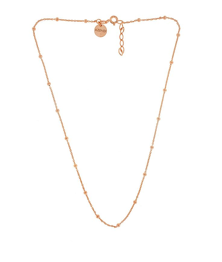 Sterling Silver Necklace with Single Spaced Balls and 18ct Rose Gold Vermeil