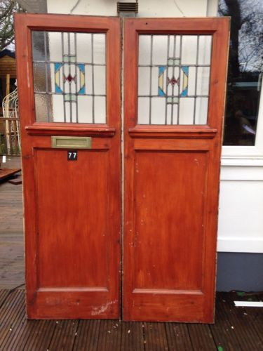 1930s #stained glass doors double front set #antique period #reclaimed old art de, View more on the LINK: http://www.zeppy.io/product/gb/2/291452396201/