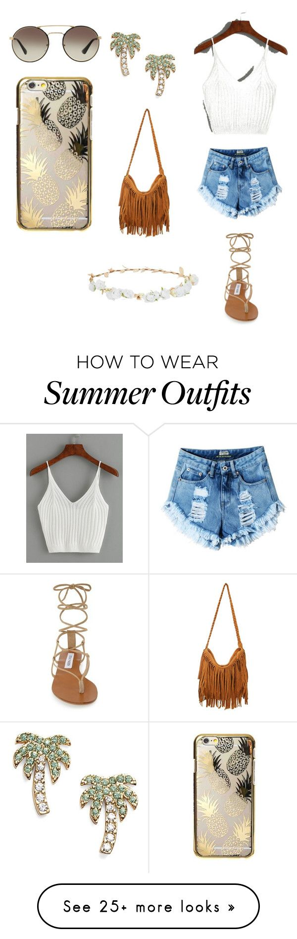 """""""Hi! This is my first outfit and I love it! It's perfect for the summer. Hope you like it! ☺️"""" by bambi-an on Polyvore featuring Steve Madden, Kate Spade, Robert Rose, Skinnydip and Prada"""