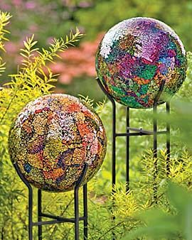 Mosaic Garden Globes. I don't think these would look the same in my not-so-lush lawn.