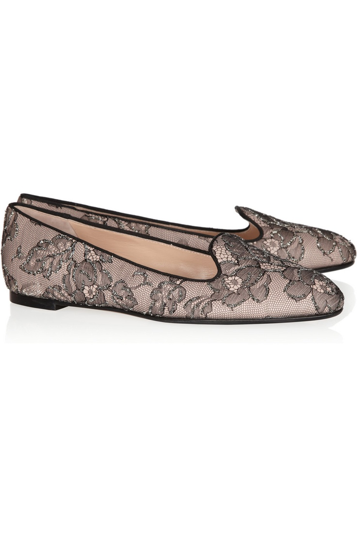 collections online big sale sale online Valentino Embellished Lace Loafers free shipping 100% original latest cheap price high quality cheap price lhQFy