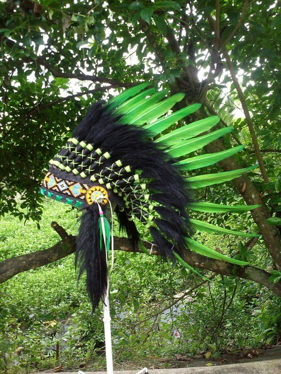 SALE Green Indian style Headdress Native American inspired