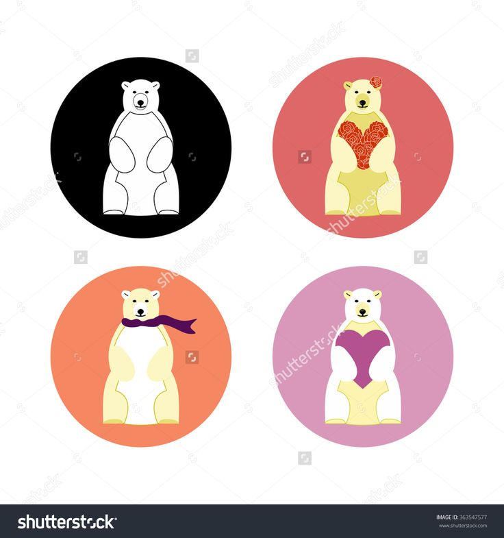 Polar #bear #icon with heart, scarf and roses on a different colored circular background