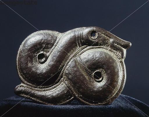 Viking brooch in the form of the World Serpent, Oland, Sweden. Artist: Werner Forman