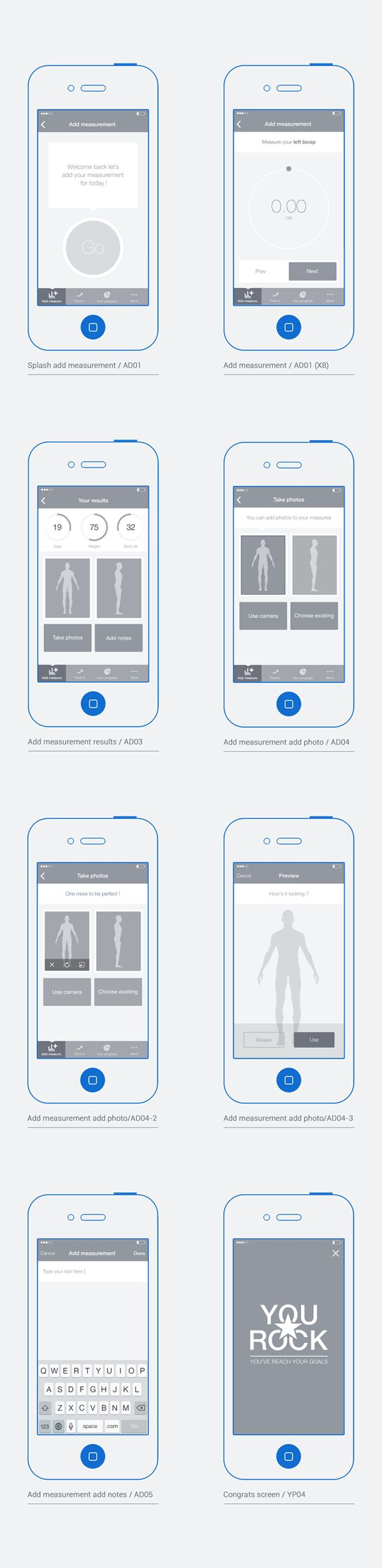 Bodytrack.it - An iOs app - Branding, UX and UI by Grégoire Vella, via Behance
