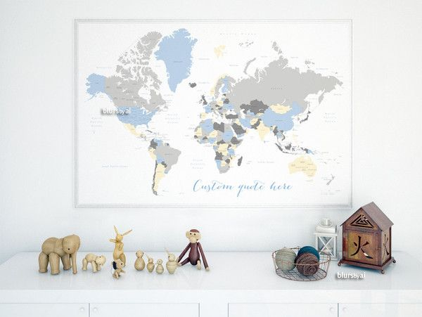 Mejores 12 imgenes de large and highly detailed world map prints custom quote world map with countries us states canadian provinces oceans labeled color combo the modern baby gumiabroncs Images