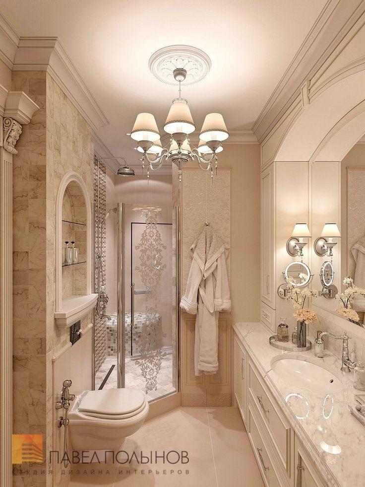 Фото дизайн интерьера ванной комнаты из проекта «Дизайн трехкомнатной квартиры 126 кв.м. в классическом стиле с винтажными элементами, ЖК «Пять звёзд»»