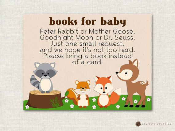 books for baby woodland bring a book instead of card bring a book