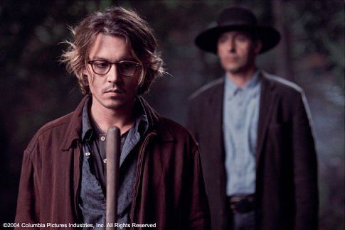 Johnny Depp as Mort Rainey and John Turturro in Secret Window.  One of my favorite movies adapted from a Stephen King story.