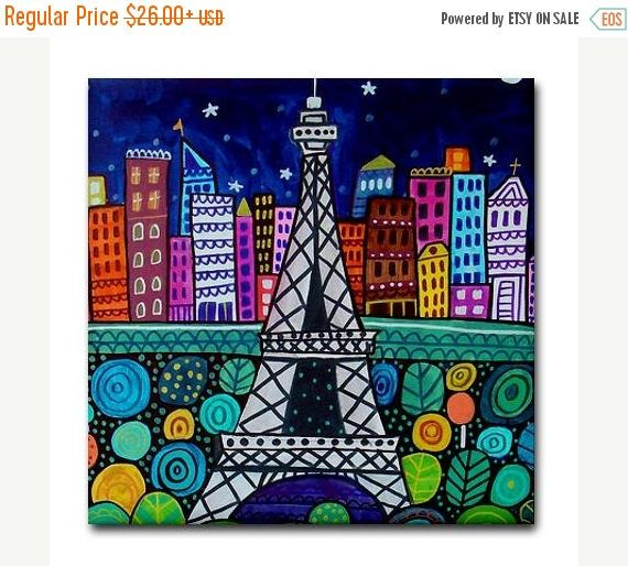 50% Off Today- Paris France Art Tile Eiffel Tower Ceramic Tile Art Cityscape City Art Modern Abstract Print on Coaster