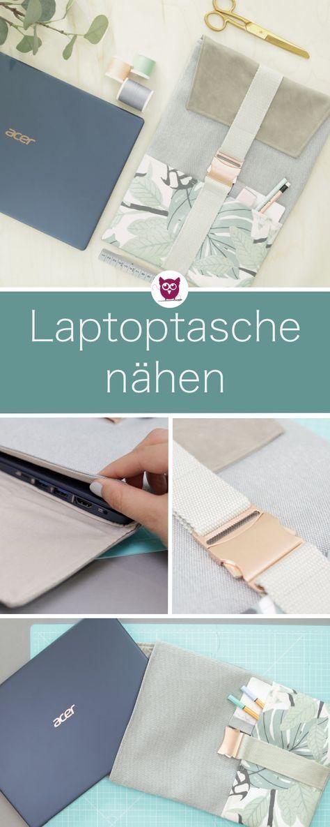 [Werbung] Passgenaue Laptoptasche nähen mit Klapp…