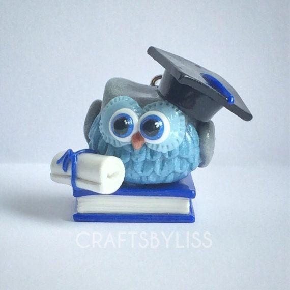 Cute Polymer Clay Graduation Owl Keyring, Keychain, Lanyard, Ornament, Accessory, Buho, Arcilla Polimerica