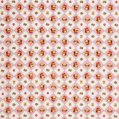 Tela rosa blanca cuadro rombo niña pequeña niñita flor - Telas infantiles - Textiles - tienda kawaii modesS4u