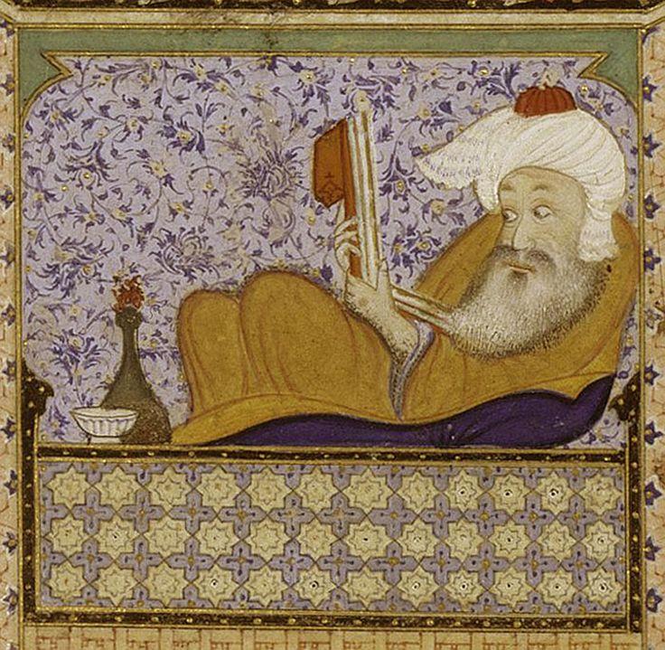 Allégorie de l'ivresse mondaine et d'un autre monde, manuscrit illustré du Divân de Hâfez, période safavide, règne de Shâh Tahmâsp, ca. 1526-1527, aquarelle opaque, encre et or sur papier.
