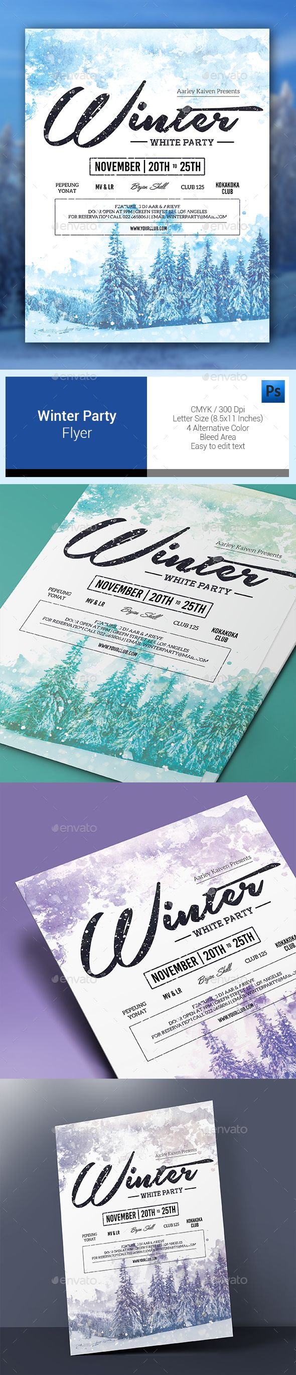 Winter Party Flyer Template PSD #design Download…