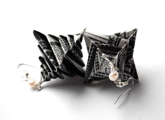Origami Earrings Dangle Earrings Modern Earrings by MAGcraftsy, $18.99