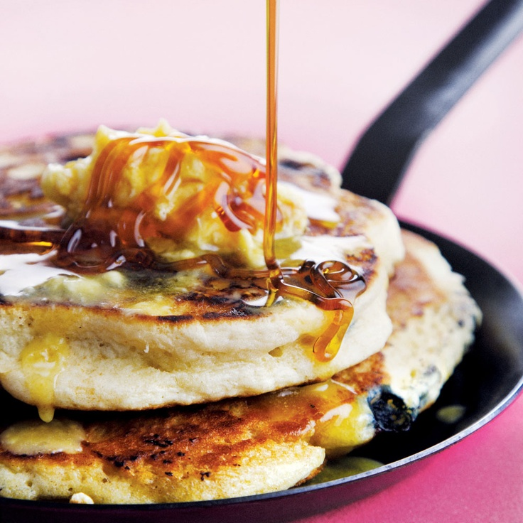 Blueberry Pancakes with Maple-butter Syrup - Decadent indulgence! http://www.sharonglass.co.za/sharons_menu_ideas.asp?mID=256&sStage=2 #cooking #dessert #blueberries