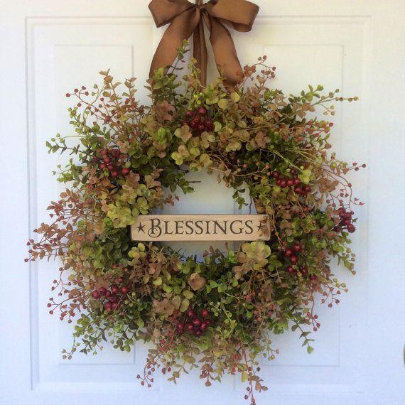 Autumn Wreaths-Fall Wreaths-Blessings Wreath-Eucalyptus Wreath-Wooden Signs-Fall Decor-Hostess Gift-Thanksgiving Wreath-Wreath