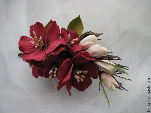 Броши ручной работы. Ярмарка Мастеров - ручная работа. Купить Букетик с цветами из фоамирана. Handmade. Бордовый, цветы ручной работы