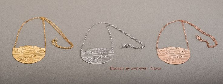 The view of the island from the Palaces with Portara of Naxos on a jewel... gold plated or rhodium plated available in 3 colors (white, yellow, pink) with silver 925 chain