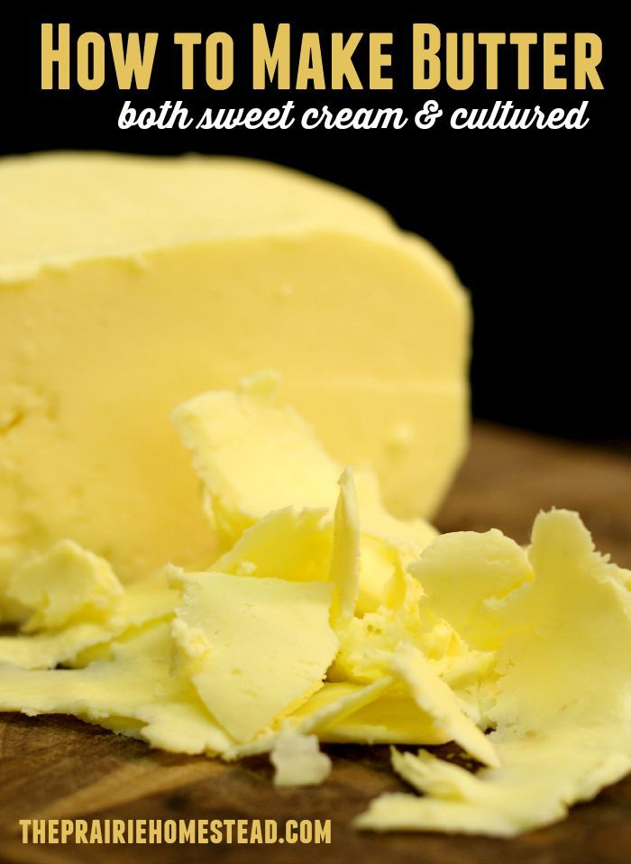 how to make butter - includes detailed instructions and lots of pics for both sweet cream and culture butter