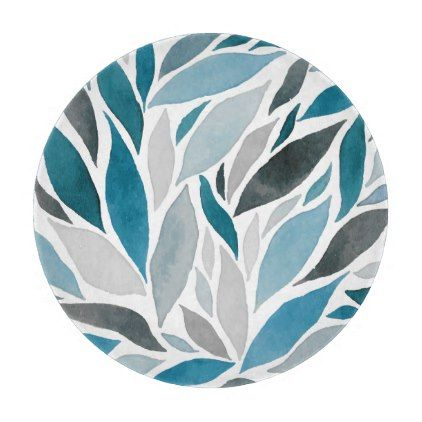 Watercolor Nature Blue Leaves Glass Chopping Board - floral style flower flowers stylish diy personalize