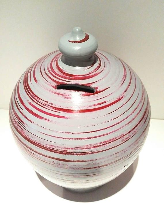 Large piggy bank for adults, unopenable no hole, to smash money tin, red grey coin box, Decorative swirls penny urn vase, christmas gift by caterina caterinahandmade on etsy