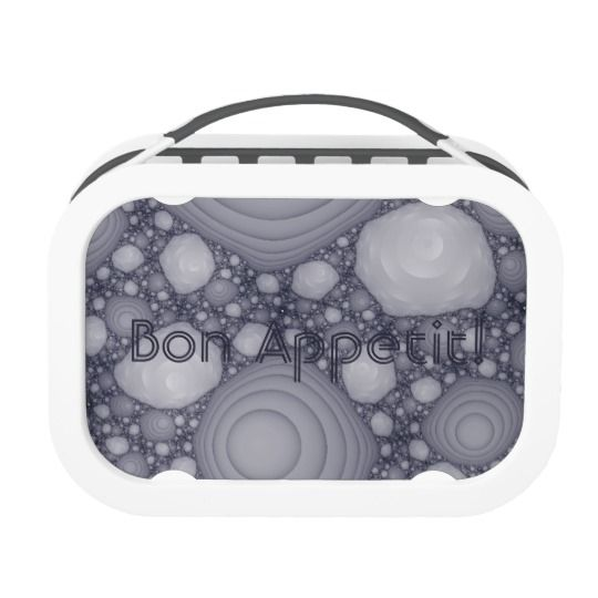 Gray fractal lunch box, personalized, customized, artwork, buy, sale, gift ideas, zazzle,  gray, grey, lilac, violet, fractal, space rocks, space stones, moon stones, abstract, pattern, monochrome