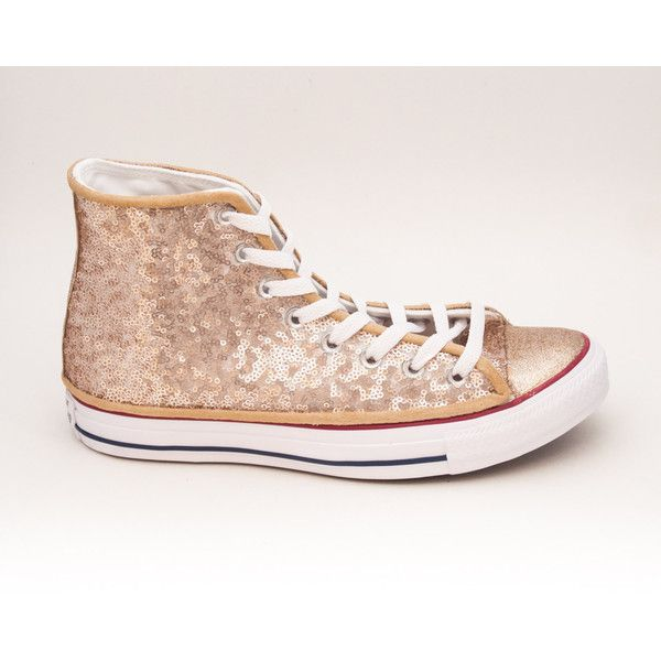 Tiny Sequin Starlight Champagne Gold Canvas Converse Canvas Hi Top... ($140) ❤ liked on Polyvore featuring shoes, sneakers, hi tops, silver, sneakers & athletic shoes, women's shoes, sequin high top sneakers, high top canvas sneakers, canvas tennis shoes and high top tennis shoes