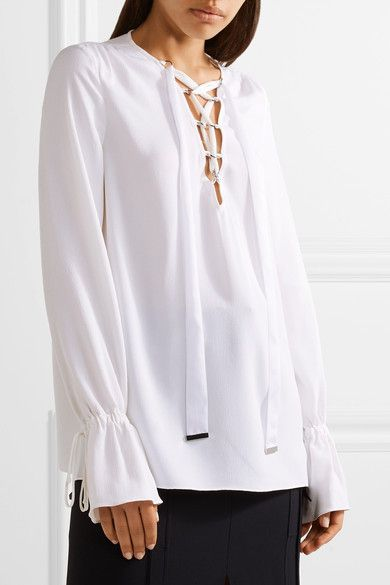 White silk-blend crepe Slips on 55% silk, 45% acetate Dry clean Made in Italy