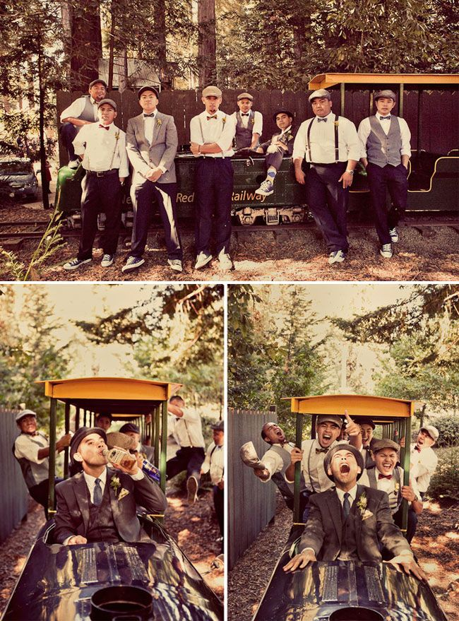 Like the laid back feel of the groom and ushers attire especially with the flat caps and vintage train.      greenweddingshoes.com jon and joann's wedding nestledown-wedding-04