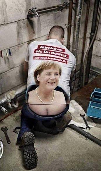 """Eine """"schöne"""" Werbung... Hoffentlich ist dieser Oligarch namens Merkel bald weg, bevor Deutschland und Europa ganz am A*** sind..."""