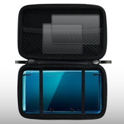 CELLAPOD Nintendo 3ds eva case with screen protector-Black by CELLAPOD. $5.19. A cushion protective case which encloses the Nintendo 3DS securely within its confines. Flips open like a clamshell and rest the device on the bottom half of the case. This EVA Game Case protects your Nintendo 3DS from bumps, scratches, and dents. An interior mesh pocket allows you to carry your 3DS accessories. Easy fit and convenient use for your device. Also includes two screen protectors so y...